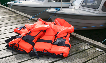 Life jackets on a pier