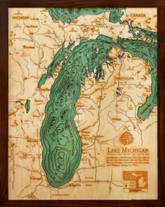 Wood Chart nautical map— carved in wood