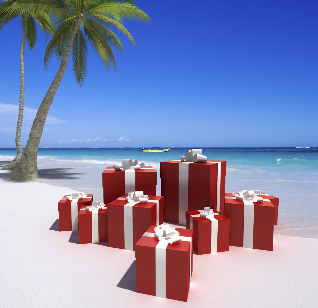 Red gifts on a beach