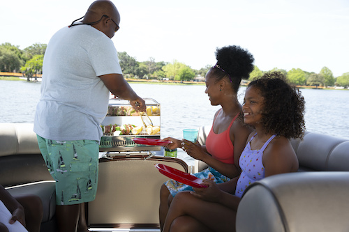 mothers day cookout on a boat